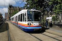 Supertram on Church Street in Sheffield,South Yorkshire