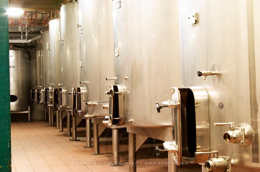 Domaine du Mas de Daumas Gassac. in Aniane. Languedoc. Stainless steel fermentation and storage tanks. France. Europe.