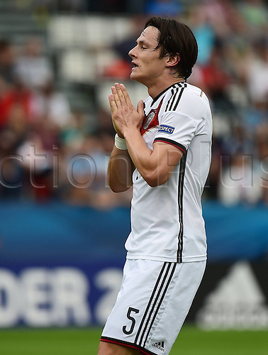 27.06.2015. Andruv Stadium, Olomouc, Czech Republic. U21 European championships, semi-final. Portugal versus Germany.  Nico Schulz (Germany)frustrated after the game which they lost 5-0