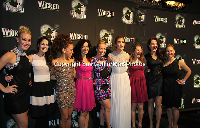 Cast of Wicked - The blockbuster musical, Wicked, celebrates its 10th Anniversary on Broadway, a milestone achieved by only ten other Broadway productions in history on October 30, 2013 at the Gershwin Theatre, New York City followed by the red carpet at the Edison Ballroom with current, alumni and creative team.  (Photo by Sue Coflin/Max Photos)