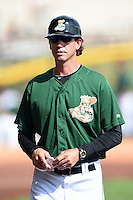 Clinton LumberKings manager Scott Steinmann (22) during a game against the Beloit Snappers on August 17, 2014 at Ashford University Field in Clinton, Iowa.  Clinton defeated Beloit 4-3.  (Mike Janes/Four Seam Images)