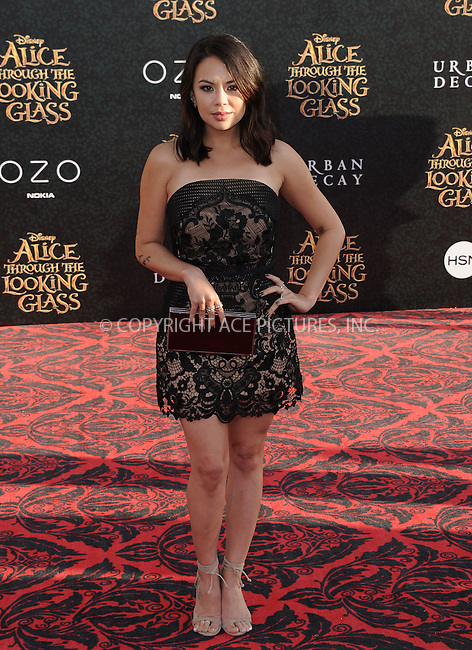 WWW.ACEPIXS.COM<br /> <br /> May 23 2016, LA<br /> <br /> Parrish Janel arriving at the premiere of Disney's 'Alice Through The Looking Glass' at the El Capitan Theatre on May 23, 2016 in Hollywood, California.<br /> <br /> <br /> By Line: Peter West/ACE Pictures<br /> <br /> <br /> ACE Pictures, Inc.<br /> tel: 646 769 0430<br /> Email: info@acepixs.com<br /> www.acepixs.com