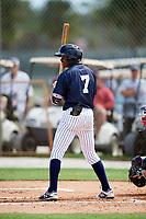 Korey Holland (7) while playing for Texas Scout Team Yankees based out of Houston, Texas during the WWBA World Championship at the Roger Dean Complex on October 21, 2017 in Jupiter, Florida.  Korey Holland is an outfielder from Houston, Texas who attends Langham Creek High School.  (Mike Janes/Four Seam Images)