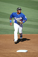 Willie Calhoun (36) of the Rancho Cucamonga Quakes covers second base during a game against the San Jose Giants at LoanMart Field on August 30, 2015 in Rancho Cucamonga, California. Rancho Cucamonga defeated San Jose 8-3. (Larry Goren/Four Seam Images)