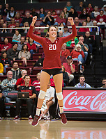 Stanford, CA - October 18, 2019: Caitlin Keefe at Maples Pavilion. The No. 2 Stanford Cardinal swept the Colorado Buffaloes 3-0.