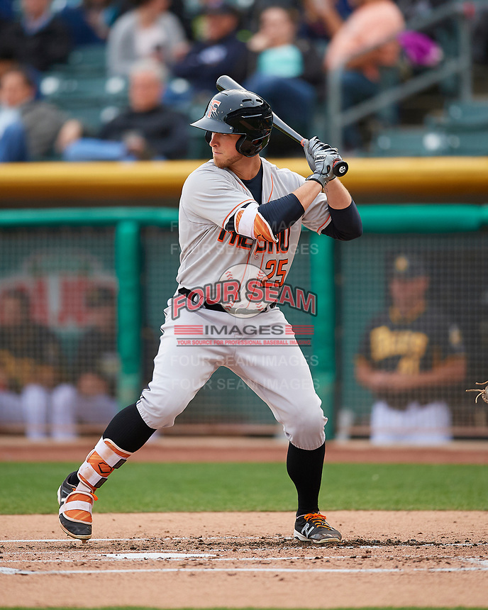 Jon Kemmer (25) of the Fresno Grizzlies at bat against the Salt Lake Bees in Pacific Coast League action at Smith's Ballpark on April 17, 2017 in Salt Lake City, Utah. The Bees defeated the Grizzlies 6-2. (Stephen Smith/Four Seam Images)