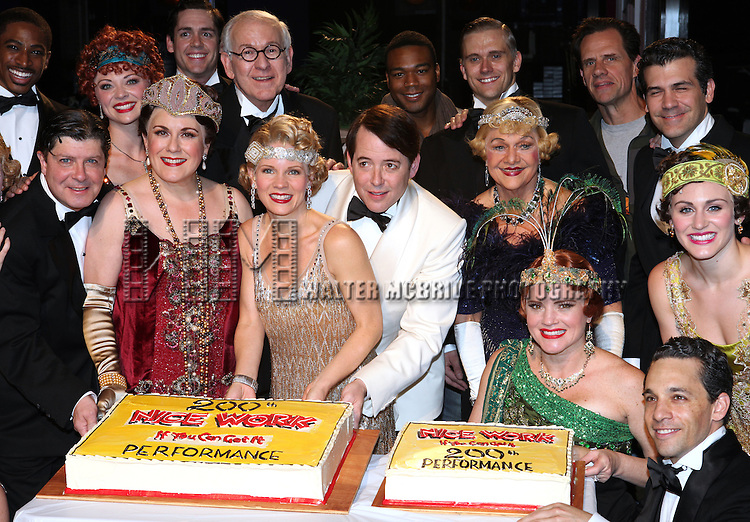 Michael McGrath, Judy Kaye, Kelli O'Hara, Matthew Broderick, Estelle Parsons and Company backstage celebrating the 200th Performance of 'Nice Work if You Can Get It' on Broadway at the Imperial Theatre on October 17, 2012 in New York City.