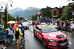 The race is stopped in Val d'Isere due to heavy hailstorms and impassable road with the times taken at the summit of Col d'Iseran during Stage 19 of the 2019 Tour de France originally running 126.5km from Saint-Jean-de-Maurienne to Tignes but cut short to 88.5 km, France. 26th July 2019.<br /> Picture: ASO/Alex Broadway | Cyclefile<br /> All photos usage must carry mandatory copyright credit (© Cyclefile | ASO/Alex Broadway)