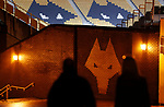 Fans walk down towards the Wolves logo before the Premier League match at Molineux, Wolverhampton. Picture date: 14th February 2020. Picture credit should read: Darren Staples/Sportimage