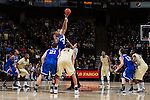 Devin Thomas (2) of the Wake Forest Demon Deacons wins the opening tip-off against Sam Hughes (31) of the UNC Asheville Bulldogs at the LJVM Coliseum on November 14, 2014 in Winston-Salem, North Carolina.  The Demon Deacons defeated the Bulldogs 80-69  (Brian Westerholt/Sports On Film)