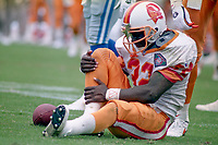 Errict Rhett holds his injured leg, Detroit Lions at Tampa Bay Buccaneers NFL football game won by Tampa Bay 24-14 at Tampa Stadium, in Tampa , Florida on Sunday October 2, 1994 . (Photo by Brian Cleary/bcpix.com)