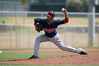 Cleveland Indians relief pitcher Randy Valladares (45) during a Minor League Spring Training game against the San Francisco Giants at the San Francisco Giants Training Complex on March 14, 2018 in Scottsdale, Arizona. (Zachary Lucy/Four Seam Images)