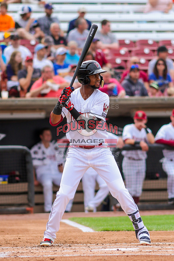 Wisconsin Timber Rattlers outfielder Carlos Belonis (2) at bat during game one of a Midwest League doubleheader against the Kane County Cougars on June 23, 2017 at Fox Cities Stadium in Appleton, Wisconsin.  Kane County defeated Wisconsin 4-3. (Brad Krause/Four Seam Images)