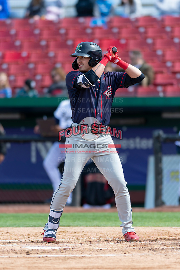 Cedar Rapids Kernels right fielder DaShawn Keirsey (5) during a Midwest League game against the Kane County Cougars at Northwestern Medicine Field on April 28, 2019 in Geneva, Illinois. Kane County defeated Cedar Rapids 3-2 in game one of a doubleheader. (Zachary Lucy/Four Seam Images)