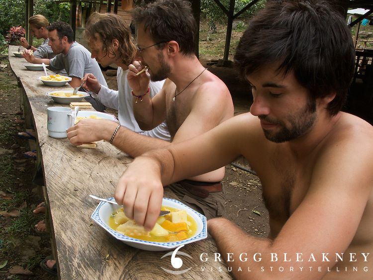 A group of hikers eating lunch during a 6 day trek to the Lost City (Ciudad Perdida) - Colombia