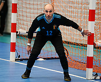 20200201 Herentals , BELGIUM :  Belgium's goal keeper Pietro Benetti (12) ready for action during a futsal indoor soccer game between the Belgian Futsal Devils of Belgium and Montenegro on the third and last matchday in group B of the UEFA Futsal Euro 2022 Qualifying or preliminary round , Saturday 1st February 2020 at the Sport Vlaanderen sports hall in Herentals , Belgium . PHOTO SPORTPIX.BE | Sevil Oktem