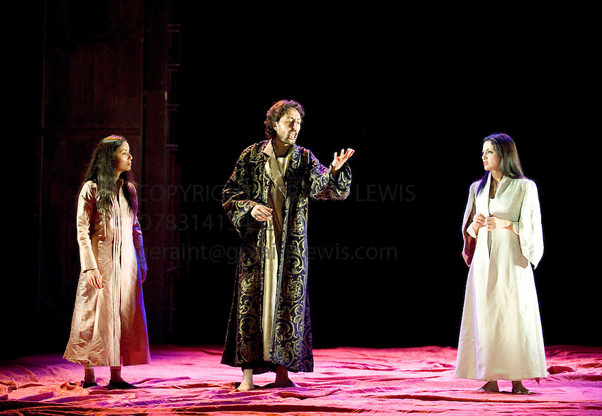 One Thousand and One Nights . Adapted by Hanan al Shaykh . Dramatised and directed by Tim Supple. With  Hajar Graigaa as Shaharzad's sister, Said Bey, Houda Echouafni as Shaharzad,  Opens at The Lyceum Theatre at The Edinburgh International Festival 2011 . CREDIT Geraint Lewis