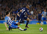 Lewis Dunk of Brighton fouls Lucas Moura of Tottenham during the premier league match at the Amex Stadium, London. Picture date 17th April 2018. Picture credit should read: David Klein/Sportimage