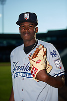 Staten Island Yankees pitcher Juan De Paula (55) poses for a photo before a game against the Aberdeen IronBirds on August 23, 2018 at Leidos Field at Ripken Stadium in Aberdeen, Maryland.  Aberdeen defeated Staten Island 6-2.  (Mike Janes/Four Seam Images)