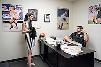 Marianne Frapwell, Project S.A.F.E. Program Manager and Survivor Advocate, meets with Michael Wells, Associate Director of Athletics/Sports Information Director in the Athletics Department on Oct. 9, 2015. The two met to discuss collaboration between Athletics and Project S.A.F.E. (Sexual Assault Free-Environment), a prevention, education, and advocacy program dedicated to addressing issues of sexual assault on campus.<br /> (Photo by Marc Campos, Occidental College Photographer)