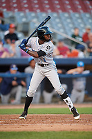 Hudson Valley Renegades left fielder Bryce Brown (1) at bat during a game against the Connecticut Tigers on August 20, 2018 at Dodd Stadium in Norwich, Connecticut.  Hudson Valley defeated Connecticut 3-1.  (Mike Janes/Four Seam Images)