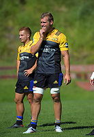 Brad Shields and Ihaia West (left). Hurricanes rugby union training at Rugby League Park in Wellington, New Zealand on Wednesday, 24 January 2018. Photo: Dave Lintott / lintottphoto.co.nz
