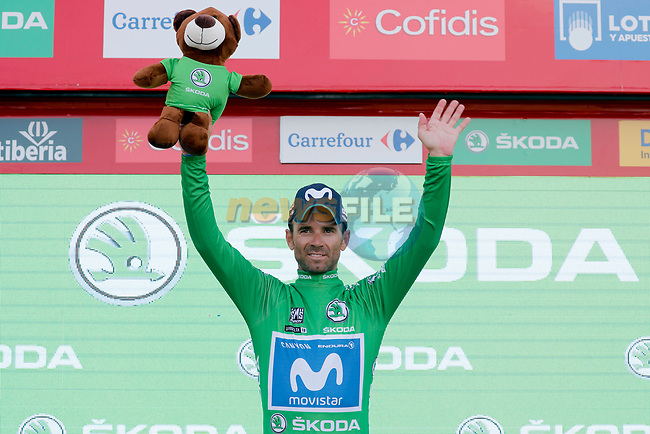 Alejandro Valverde (ESP) Movistar Team retains the Green Jersey at the end of Stage 9 of the La Vuelta 2018, running 200.8km from Talavera de la Reina to La Covatilla, Spain. 2nd September 2018.<br /> Picture: Unipublic/Photogomezsport | Cyclefile<br /> <br /> <br /> All photos usage must carry mandatory copyright credit (© Cyclefile | Unipublic/Photogomezsport)