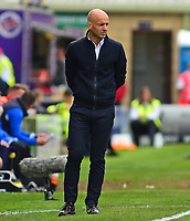 Exeter City manager Paul Tisdale shouts instructions to his team from the technical area<br /> <br /> Photographer Andrew Vaughan/CameraSport<br /> <br /> The EFL Sky Bet League Two Play Off First Leg - Lincoln City v Exeter City - Saturday 12th May 2018 - Sincil Bank - Lincoln<br /> <br /> World Copyright &copy; 2018 CameraSport. All rights reserved. 43 Linden Ave. Countesthorpe. Leicester. England. LE8 5PG - Tel: +44 (0) 116 277 4147 - admin@camerasport.com - www.camerasport.com