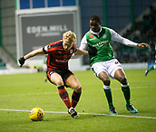 4th November 2017, Easter Road, Edinburgh, Scotland; Scottish Premiership football, Hibernian versus Dundee; Dundee's A-Jay Leitch-Smith and Hibernian's Efe Ambrose