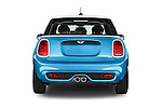 Straight rear view of a 2015 MINI Cooper S 4 Door 4 Door Hatchback Rear View  stock images