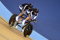 PICTURE BY ALEX BROADWAY /SWPIX.COM - 2012 London Paralympic Games - Day Four - Track Cycling - Velodrome, Olympic Park, London, England - 02/09/12 - Philipa Gray & pilot Laura Thompson of New Zealand compete in the Women's Individual B Pursuit Final.