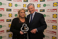 19/05/2015 <br /> Christina Noble &amp; Pat Kenny with her award<br /> during the Irish mirror pride of Ireland awards at the mansion house, Dublin.<br /> Photo: gareth chaney Collins
