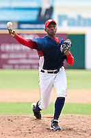 """Orlando """"El Duque"""" Hernandez  on a rehab assignment with the Gulf Coast League Nationals during the game at Space Coast Stadium in Viera, Florida August 6 2010. Photo By Scott Jontes/Four Seam Images"""