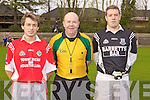 Pictured before the County final in Newcastlewest  on Sunday were l-r: Mike Quirke(Capt-Mountcollins), Richard Moloney(Ref- Bruff) and Mark Culhane(Capt-Glin)