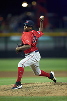 Salem Red Sox relief pitcher Joan Martinez (29) in action against the Fayetteville Woodpeckers at Segra Stadium on May 15, 2019 in Fayetteville, North Carolina. The Woodpeckers defeated the Red Sox 6-2. (Brian Westerholt/Four Seam Images)