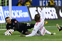 Harrison, NJ - Thursday March 01, 2018: Donis Escober, Bradley Wright-Phillips. The New York Red Bulls defeated C.D. Olimpia 2-0 (3-1 on aggregate) during a 2018 CONCACAF Champions League Round of 16 match at Red Bull Arena.