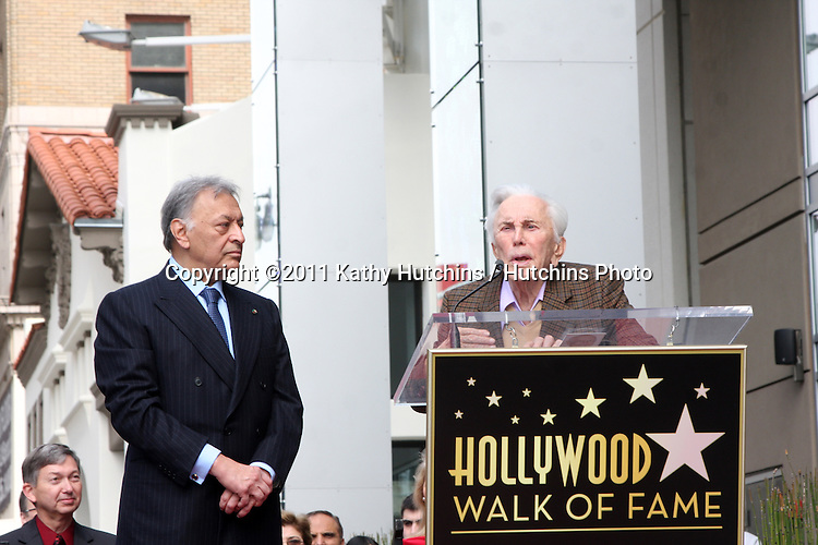 LOS ANGELES -  1:  Maestro Zubin Mehta, Kirk Douglas at the Hollywood Walk of Fame Star Ceremony honoring  Maestro Zubin Mehta  at Vine Street, South of Hollywood Blvd. on March 1, 2011 in Los Angeles, CA
