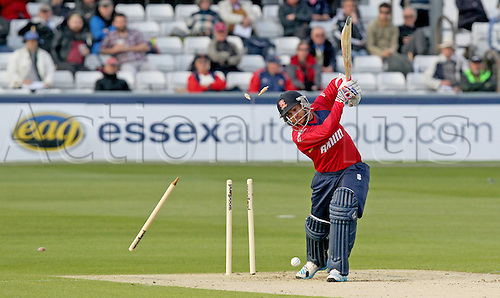 13.05.2014 Chelmsford, England.   Greg Smith is bowled whilst batting during the Essex Eagles and Sri Lanka Tour  match from The Essex County Ground, Chelmsford