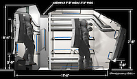 Cutaway with basic measurements used as a guide for the set designers.