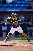 Michigan Wolverines catcher Harrison Wenson (7) looks to throw down to second during the second game of a doubleheader against the Canisius College Golden Griffins on February 20, 2016 at Tradition Field in St. Lucie, Florida.  Michigan defeated Canisius 3-0.  (Mike Janes/Four Seam Images)