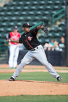 Delmarva Shorebirds starting pitcher Francisco Jimenez (40) in action against the Hickory Crawdads at L.P. Frans Stadium on June 18, 2016 in Hickory, North Carolina.  The Crawdads defeated the Shorebirds 1-0 in game one of a double-header.  (Brian Westerholt/Four Seam Images)