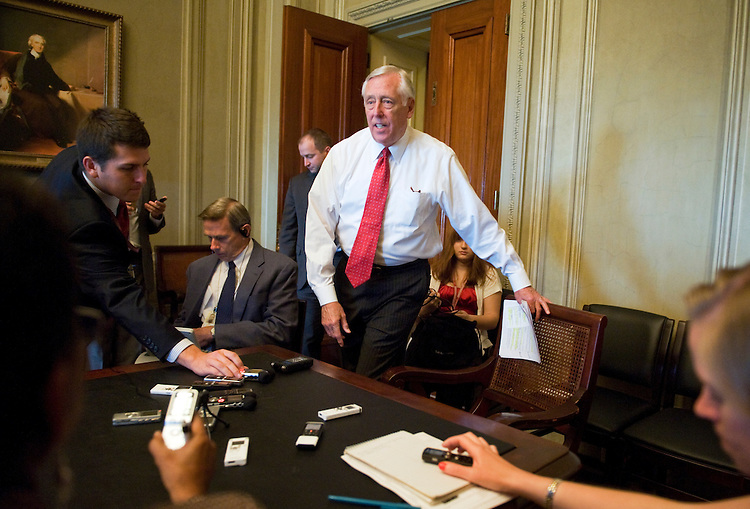 UNITED STATES - JULY 06:  House Minority Whip Steny Hoyer, D-Md., arrives for his weekly pen and pad briefing with reporters in the Capitol. (Photo By Tom Williams/Roll Call)