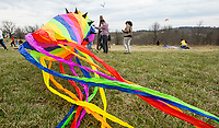 NWA Democrat-Gazette/BEN GOFF @NWABENGOFF<br /> Guests fly their kites Saturday, March 23, 2019, during the 29th annual Eureka Springs Kite Festival hosted by Turpentine Creek Wildlife Refuge in Eureka Springs. The free family event included kite making and kites for sale from Keleidokites in Eureka Springs and a variety of food trucks and entertainment. Strong wind kept dozens of kites flying high at any given time.