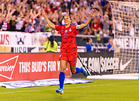 PHILADELPHIA, PA - AUGUST 29: Carli Lloyd #10 of the United States celebrates during a game between Portugal and the USWNT at Lincoln Financial Field on August 29, 2019 in Philadelphia, PA.