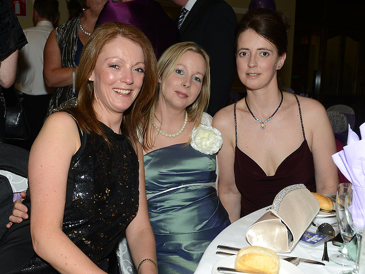 Sandra Larkin, Louise Rock and Noleen Callaghan pictured at the Cystic Fibrosis gala ball in the Grove Hotel Dunleer. Photo:Colin Bell/pressphotos.ie