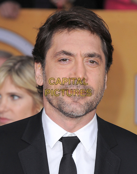 Javier Bardem.Arrivals at the 19th Annual Screen Actors Guild Awards at the Shrine Auditorium in Los Angeles, California, USA..27th January 2013.SAG SAGs headshot portrait black white shirt tie suit stubble facial hair .CAP/DVS.©DVS/Capital Pictures.