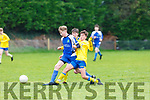 JAmes Horgan Ballyhar takes on Tom Whittleton Killorglin during their FAI cup game in Ballyhar on Saturday
