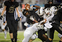 NWA Democrat-Gazette/CHARLIE KAIJO Bentonville West High School defenders force a fumble on Bentonville High School Preston Crawford (1) during a football game, Friday, November 2, 2018 at Bentonville High School in Bentonville.
