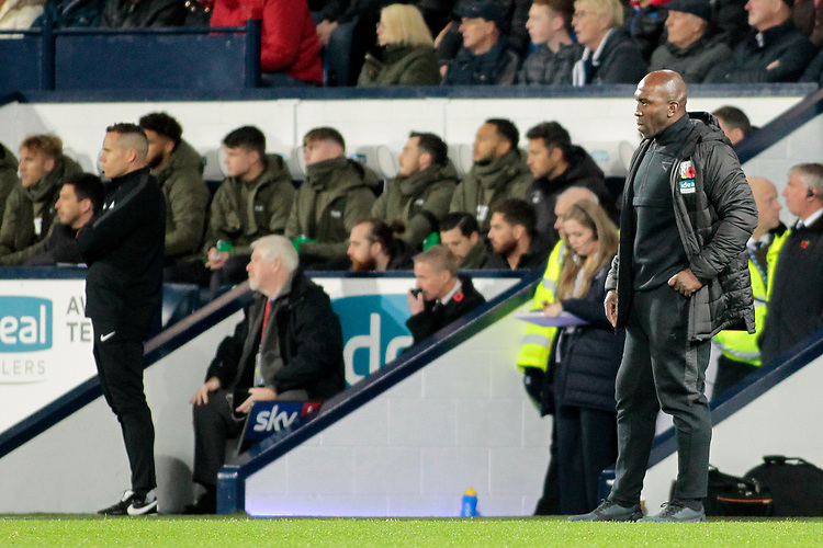 West Bromwich Albion manager Darren Moore looks on from the touchline<br /> <br /> Photographer David Shipman/CameraSport<br /> <br /> The EFL Sky Bet Championship - West Bromwich Albion v Leeds United - Saturday 10th November 2018 - The Hawthorns - West Bromwich<br /> <br /> World Copyright © 2018 CameraSport. All rights reserved. 43 Linden Ave. Countesthorpe. Leicester. England. LE8 5PG - Tel: +44 (0) 116 277 4147 - admin@camerasport.com - www.camerasport.com