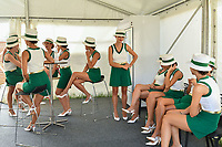 March 26, 2017: Grid girls take a break at the 2017 Australian Formula One Grand Prix at Albert Park, Melbourne, Australia. Photo Sydney Low